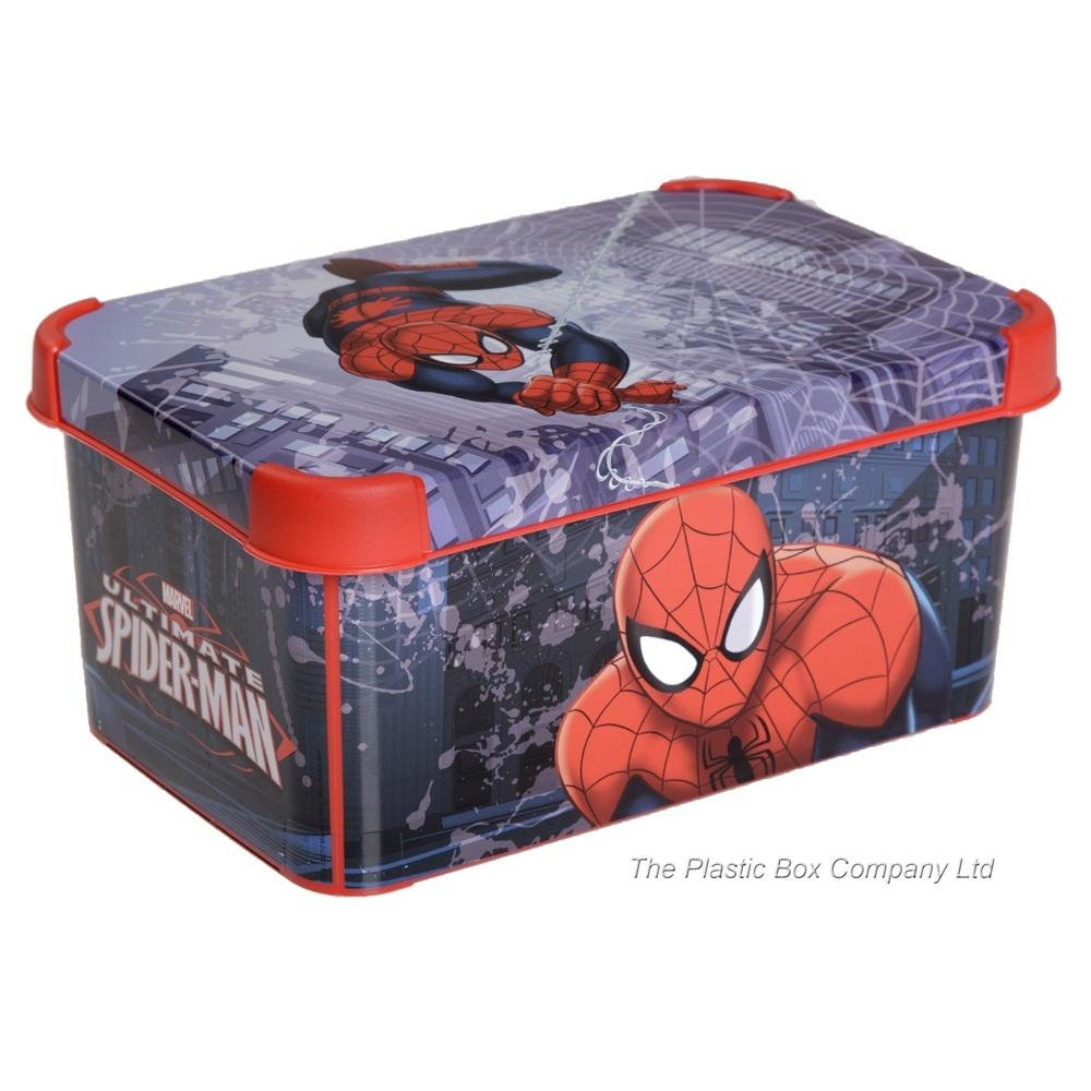 Exceptional Pack Of 3   8 Litre Spiderman Decorative Plastic Storage Boxes