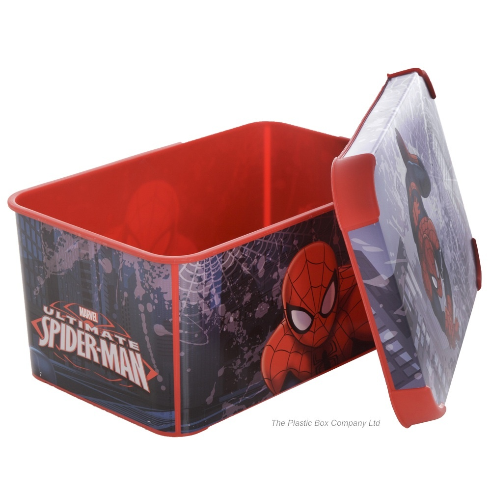 Pack Of 3   8 Litre Spiderman Decorative Plastic Storage Boxes