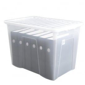 Pack of 3 - 80 Litre Crystal Plastic Storage Boxes with Lids