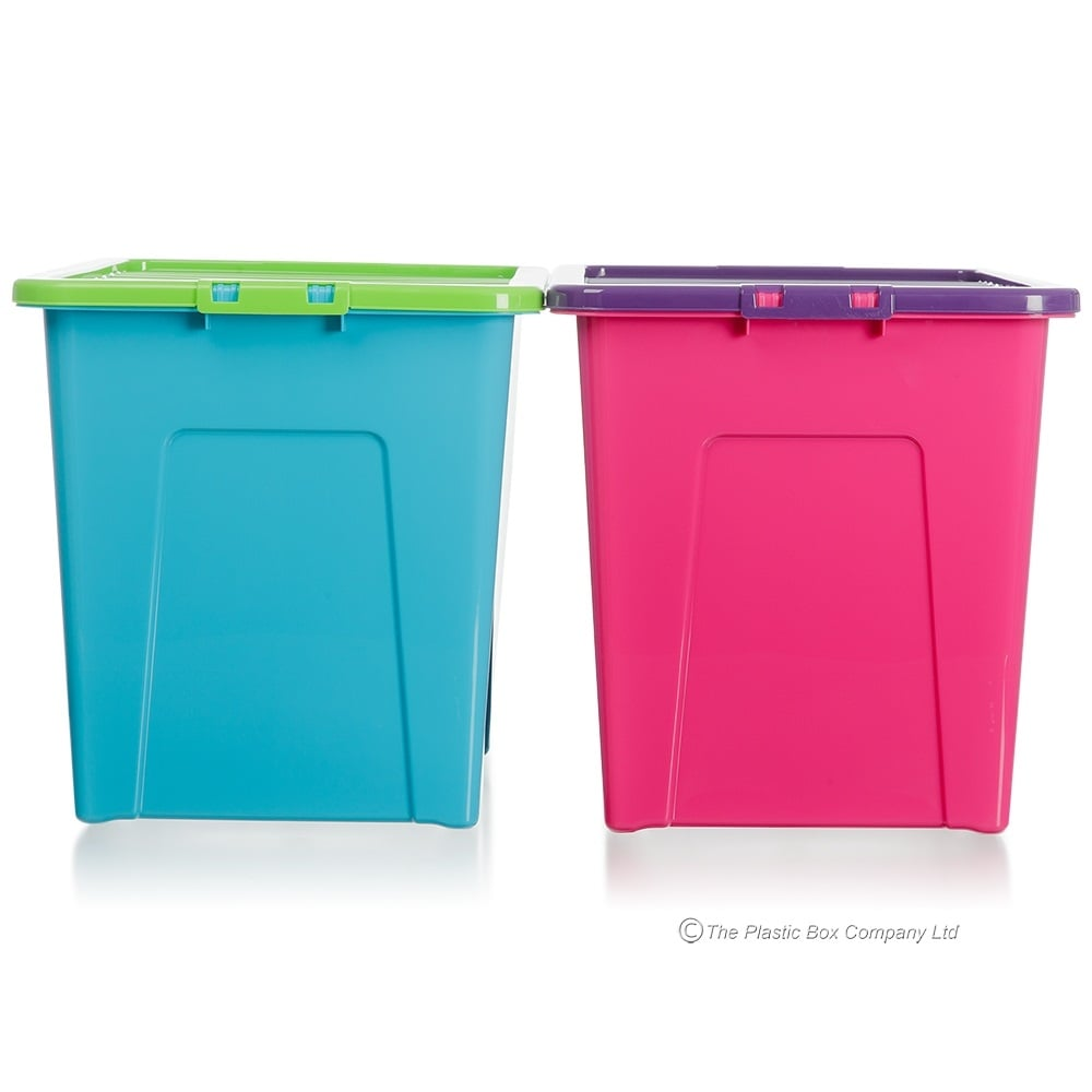 Wham Storage Pack Of 3   80 Litre Large Plastic Storage Boxes With Lids