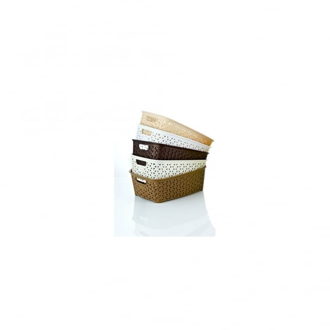Pack of 3 - Rattan Style Small Plastic Tidy Baskets
