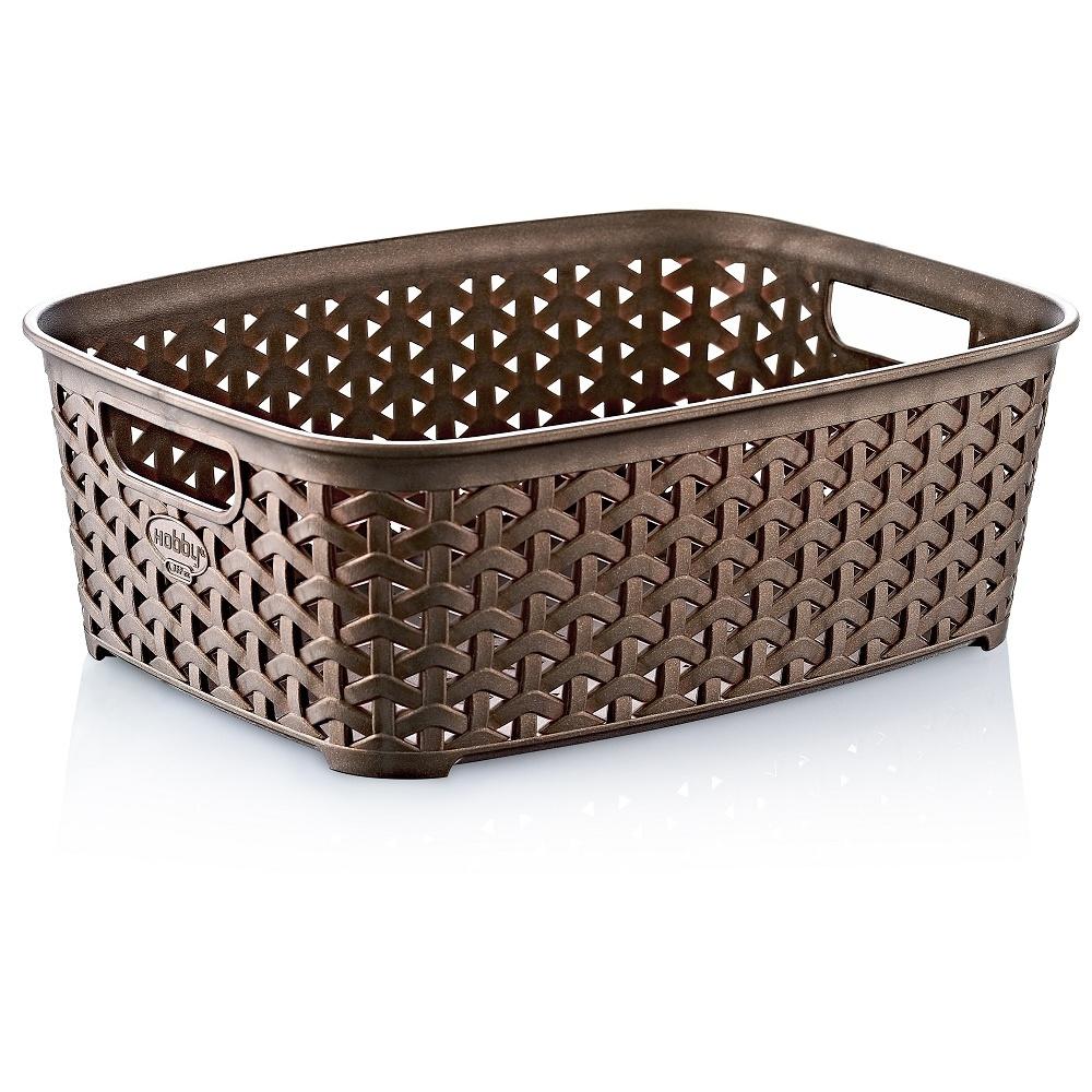 Plastic Rattan Wicker Effect Small Storage Filing Basket Desk Tray Organizer