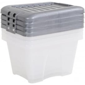 Pack of 4 - 14 Litre Nice Boxes with Lids - Silver Lid