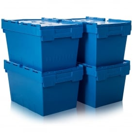 Pack of 4 - 32 Litre Heavy Duty ALC Plastic Boxes With Attached Lids
