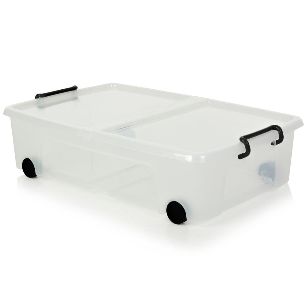 under bed plastic storage boxes with lids and wheels large. Black Bedroom Furniture Sets. Home Design Ideas