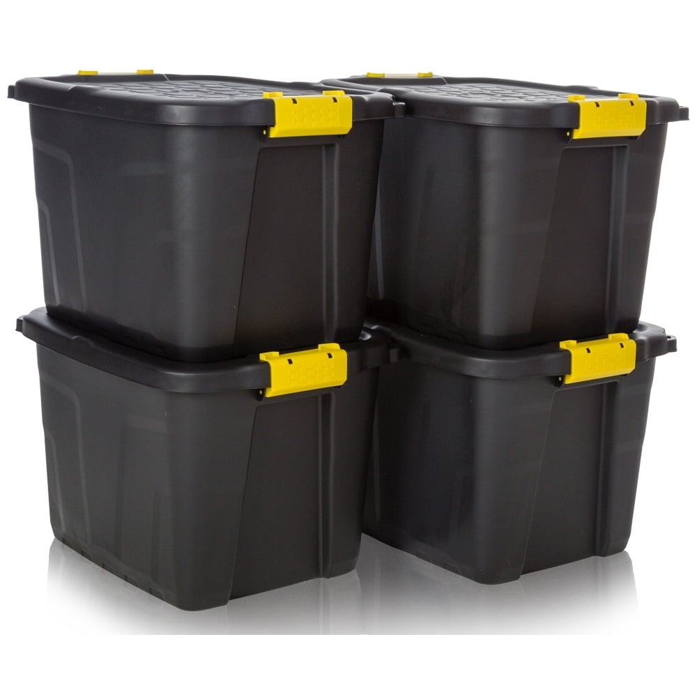 buy 42lt heavy duty plastic storage trunk black yellow. Black Bedroom Furniture Sets. Home Design Ideas