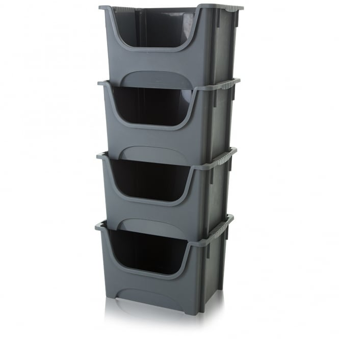 Pack of 4 - 50 Litre Plastic Picking/Stacking Boxes