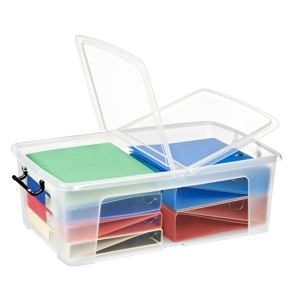 Pack Of 4   50 Litre Smart Storemaster Clear Plastic Storage Boxes And  Folding Lids