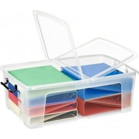 Pack of 4 - 50 Litre Smart Storemaster Clear Plastic Storage Boxes and Folding Lids