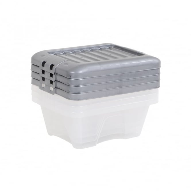 Pack of 4 - 9 Litre Nice Boxes with Lids - Silver Lid