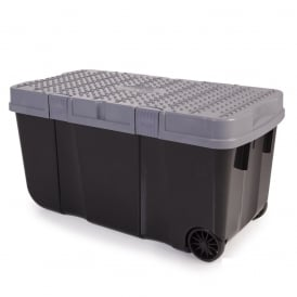Pack of 4 - Large 90 Litre Funky Tough Cart Plastic Storage Boxes with Two Wheels