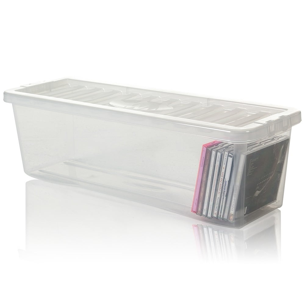 Pack Of 4   Shallow Shelf 52 CD Plastic Storage Box And Lid