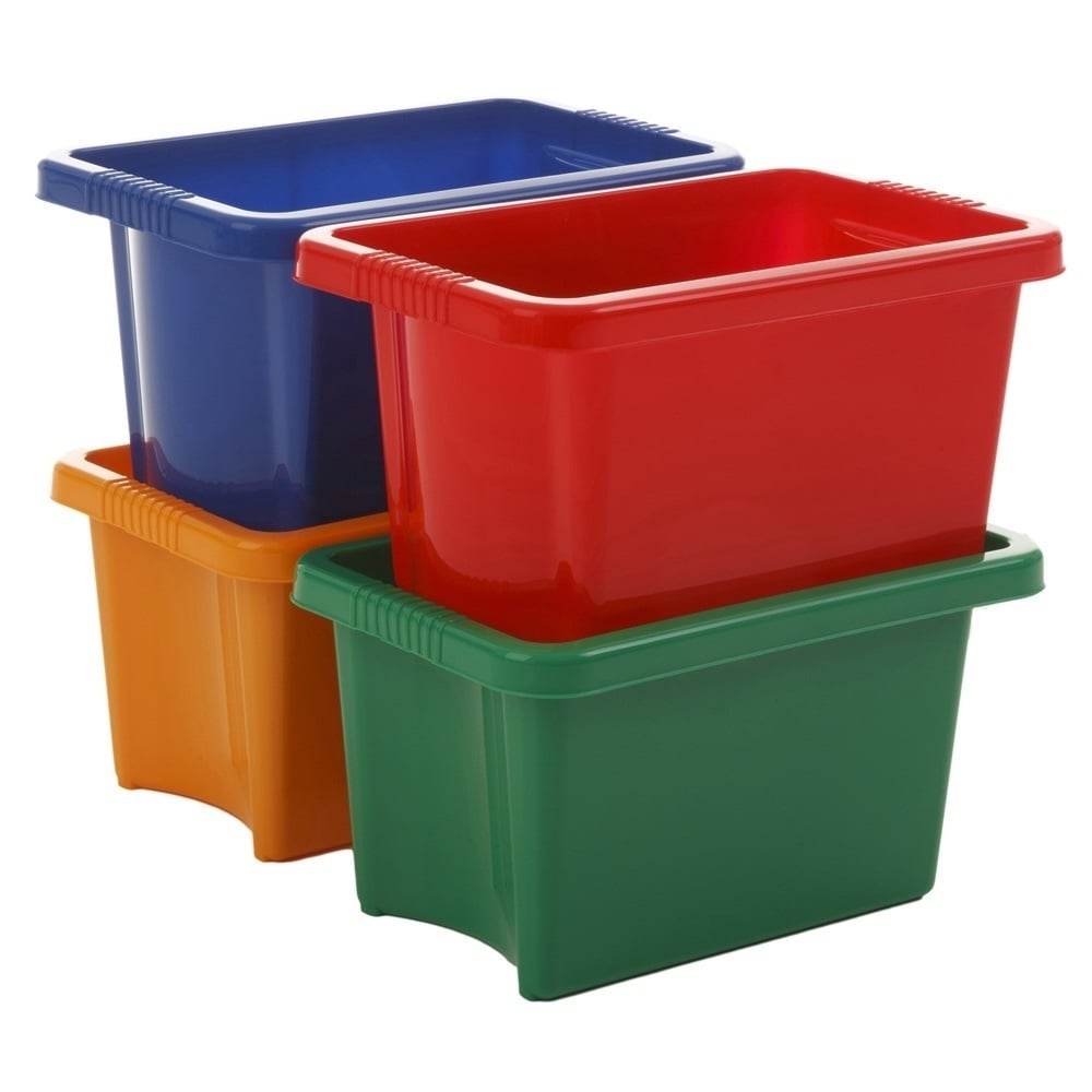 Buy 10lt stack and store storage boxes without lids red for Bathroom containers with lids