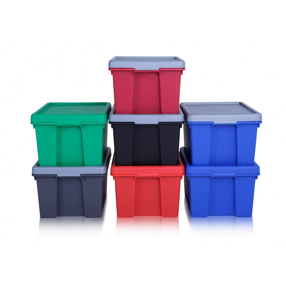 strong and tough 16 litre plastic storage boxes with lids. Black Bedroom Furniture Sets. Home Design Ideas
