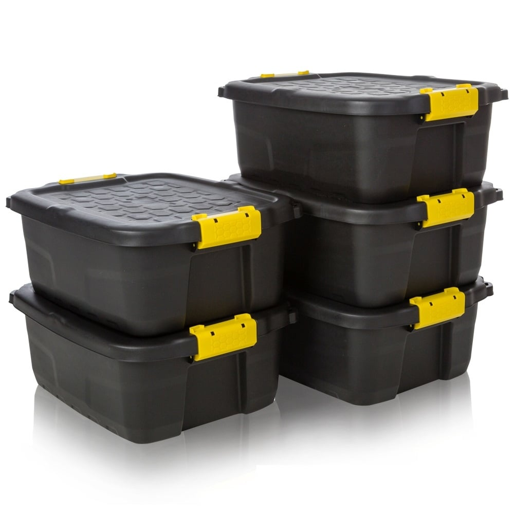 garage storage containers buy pack of 5 24lt plastic heavy duty storage trunk black 15738