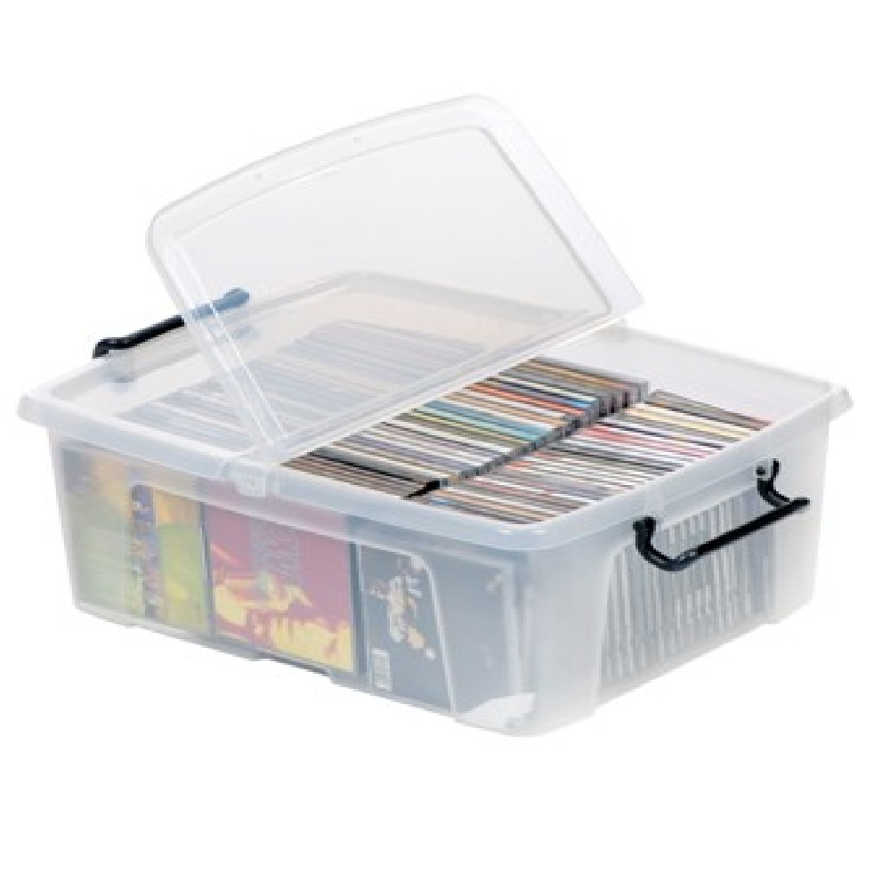 Pack of 5 - 24 Litre Smart Storemaster Plastic Storage Boxes with Lids  sc 1 st  Plastic Box Shop & Buy 24lt Strata smart plastic storage box with clip on lid
