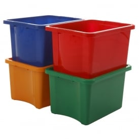 Pack of 5 - 24 Litre Stack and Store Plastic Storage Boxes