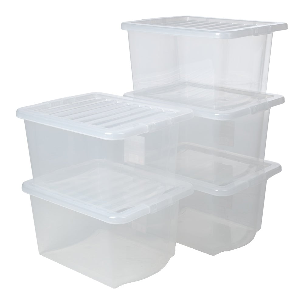buy pack of 5 30 litre crystal plastic storage boxes with lids. Black Bedroom Furniture Sets. Home Design Ideas