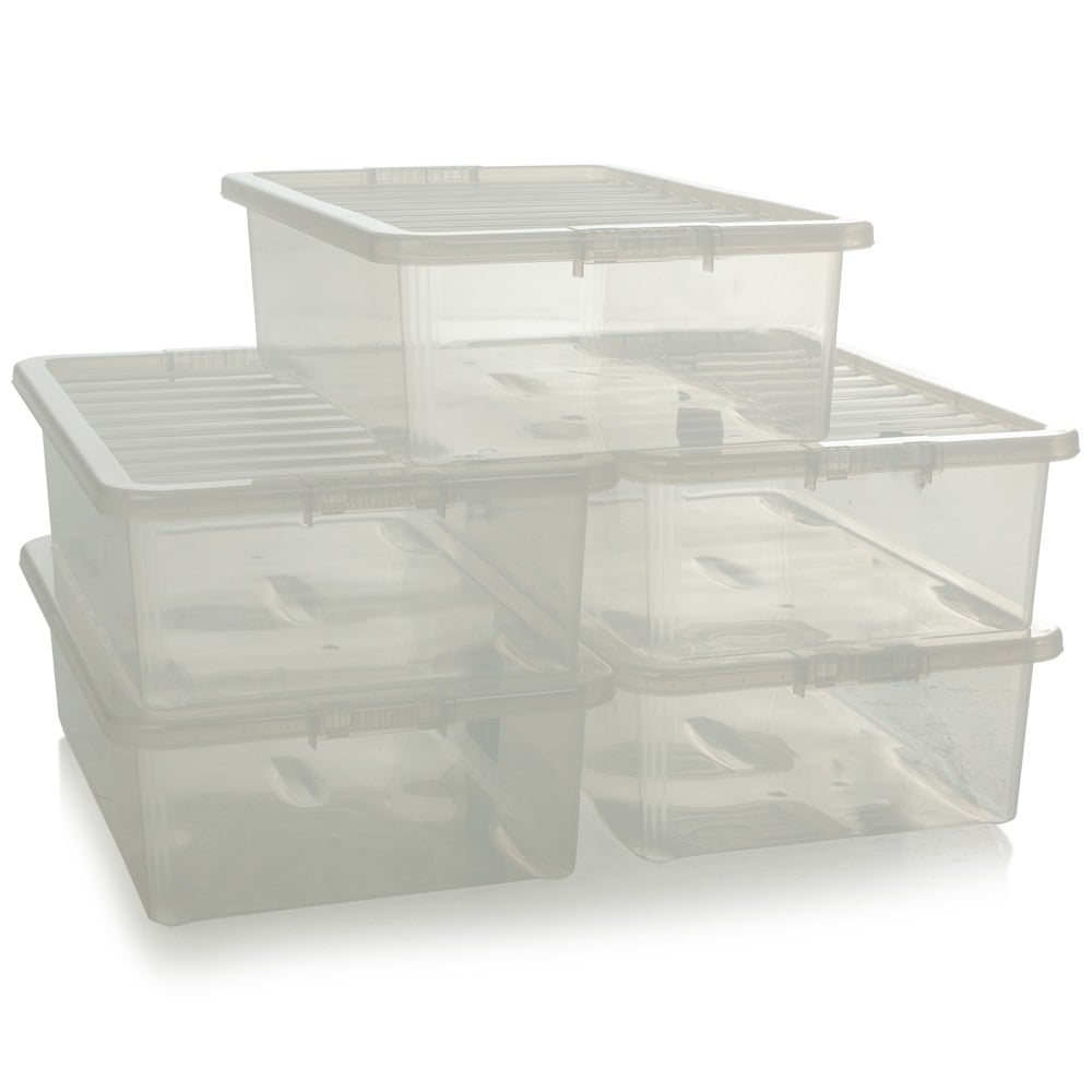 Pack Of 5   32 Litre Crystal Under Bed Plastic Storage Boxes With Lids
