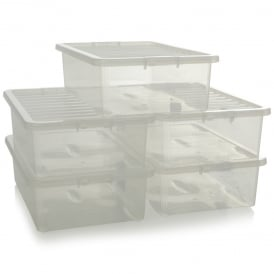 Pack of 5 - 32 Litre Crystal Under Bed Plastic Storage Boxes with Lids