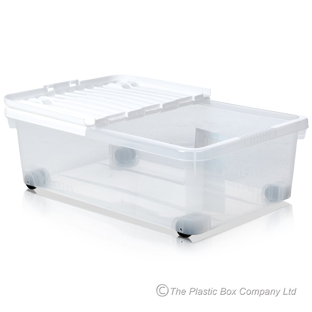 Merveilleux Pack Of 5   32 Litre Under Bed Plastic Storage Boxes With Wheels And WHITE  Lids