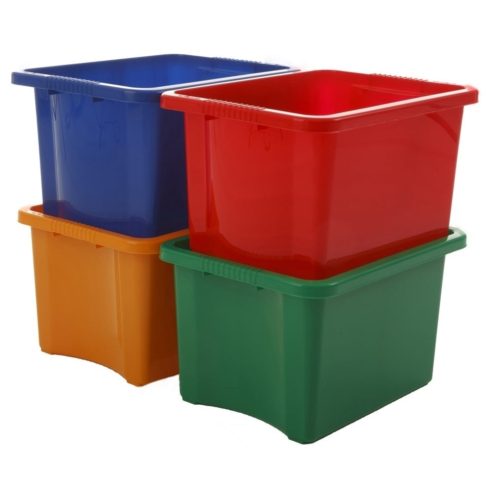 Pack Of 5   35 Litre Stack And Store Plastic Storage Boxes