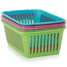 Pack of 5 - 37cm Plastic Handy Tidy Baskets