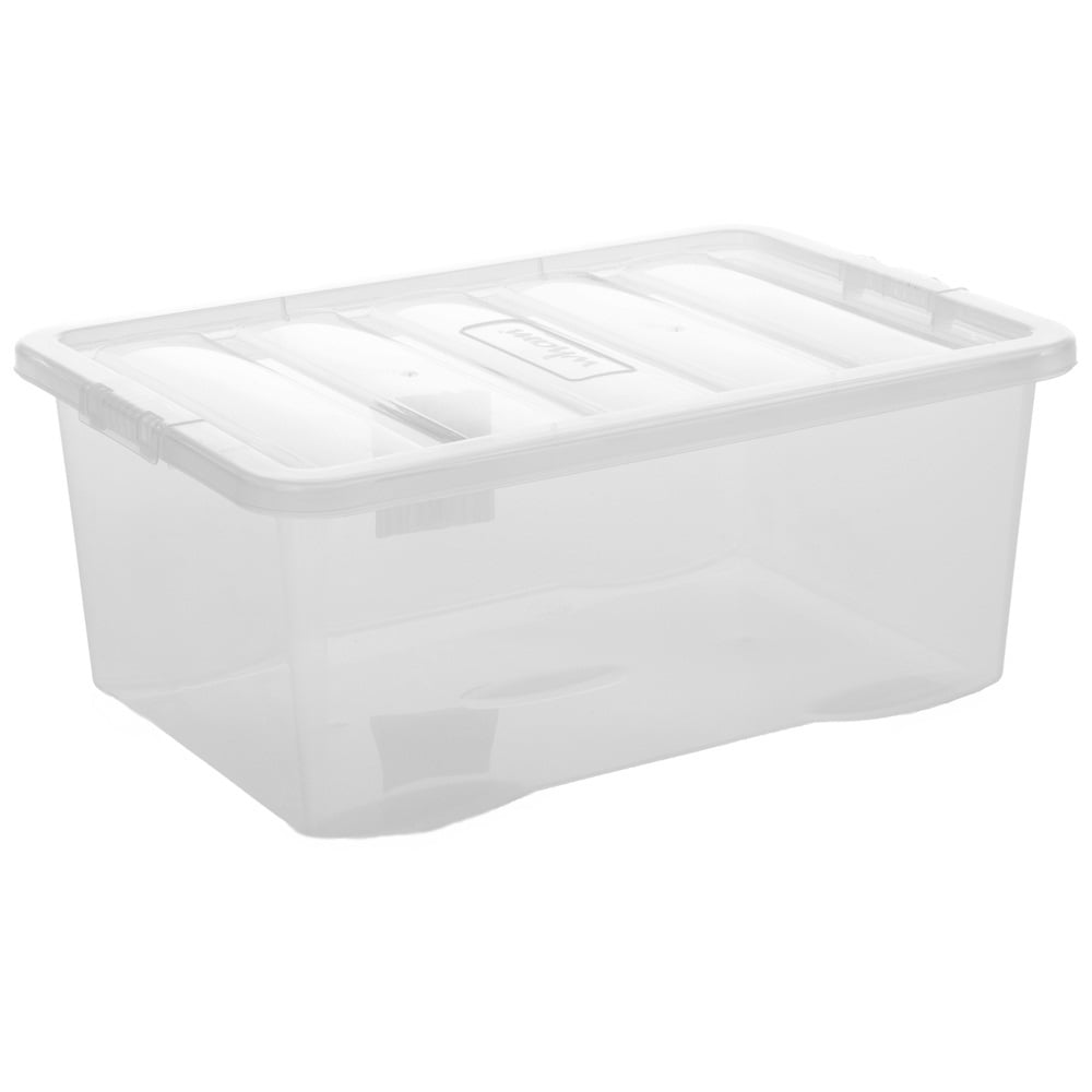 Wham Storage Pack Of 5   45 Litre Crystal Plastic Storage Boxes And Lids