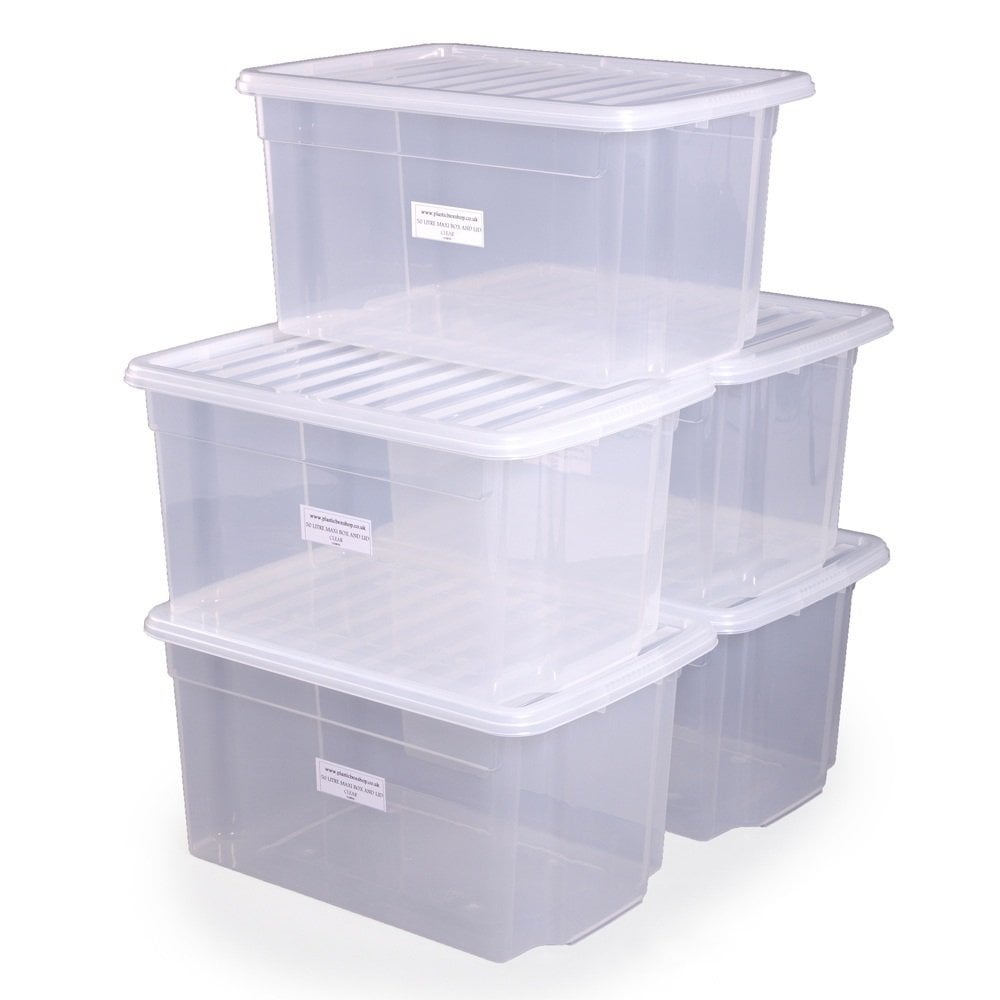 buy 50lt uni plastic storage boxes with lids free delivery. Black Bedroom Furniture Sets. Home Design Ideas