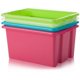 Pack of 5 - 52 Litre Large Stack and Store Plastic Storage Boxes - Base Only