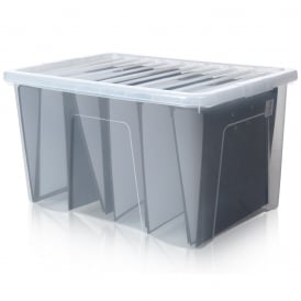 Pack of 5 - 60 Litre Large Crystal Plastic Boxes with Lids