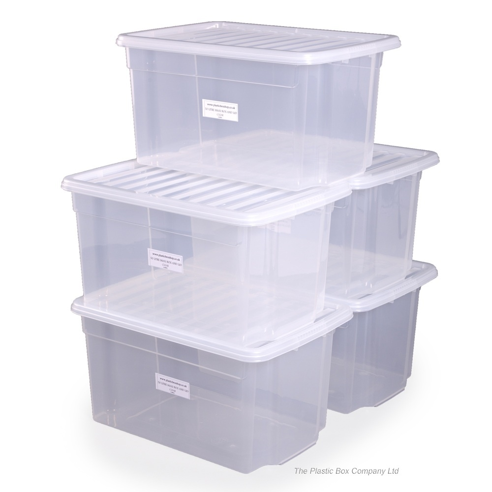 buy 50lt uni wham storage boxes with lids plastic box shop. Black Bedroom Furniture Sets. Home Design Ideas