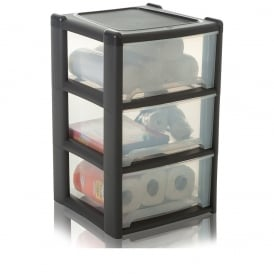 Pallet Deal x 18 - 3 Drawer Plastic Tower Units - Graphite