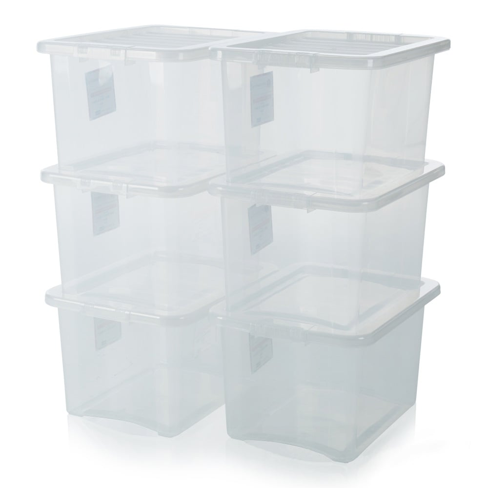 buy 24lt clear plastic storage box with lid discounted. Black Bedroom Furniture Sets. Home Design Ideas