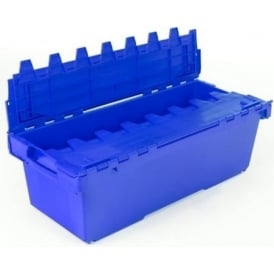 Pallet of 6 - 130 Litre Large BLACK Attached Lid ALC Long Heavy Duty Containers - The Metre Crate