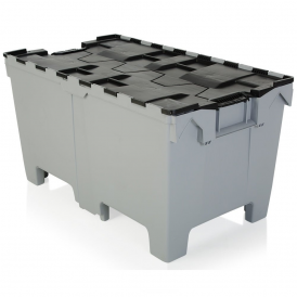Pallet of 6 - Extra Large 190 Litre Strong Attached Lid Container with Pallet Feet