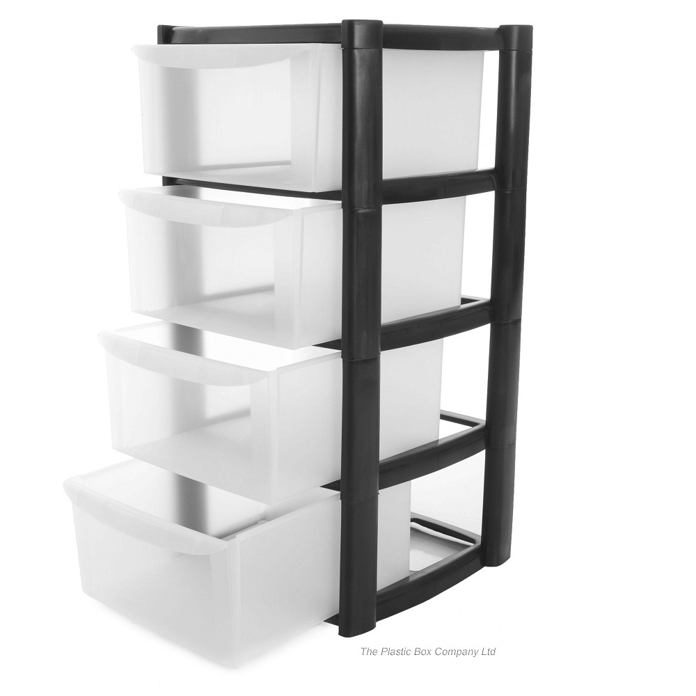 plastic four drawer storage tower unit
