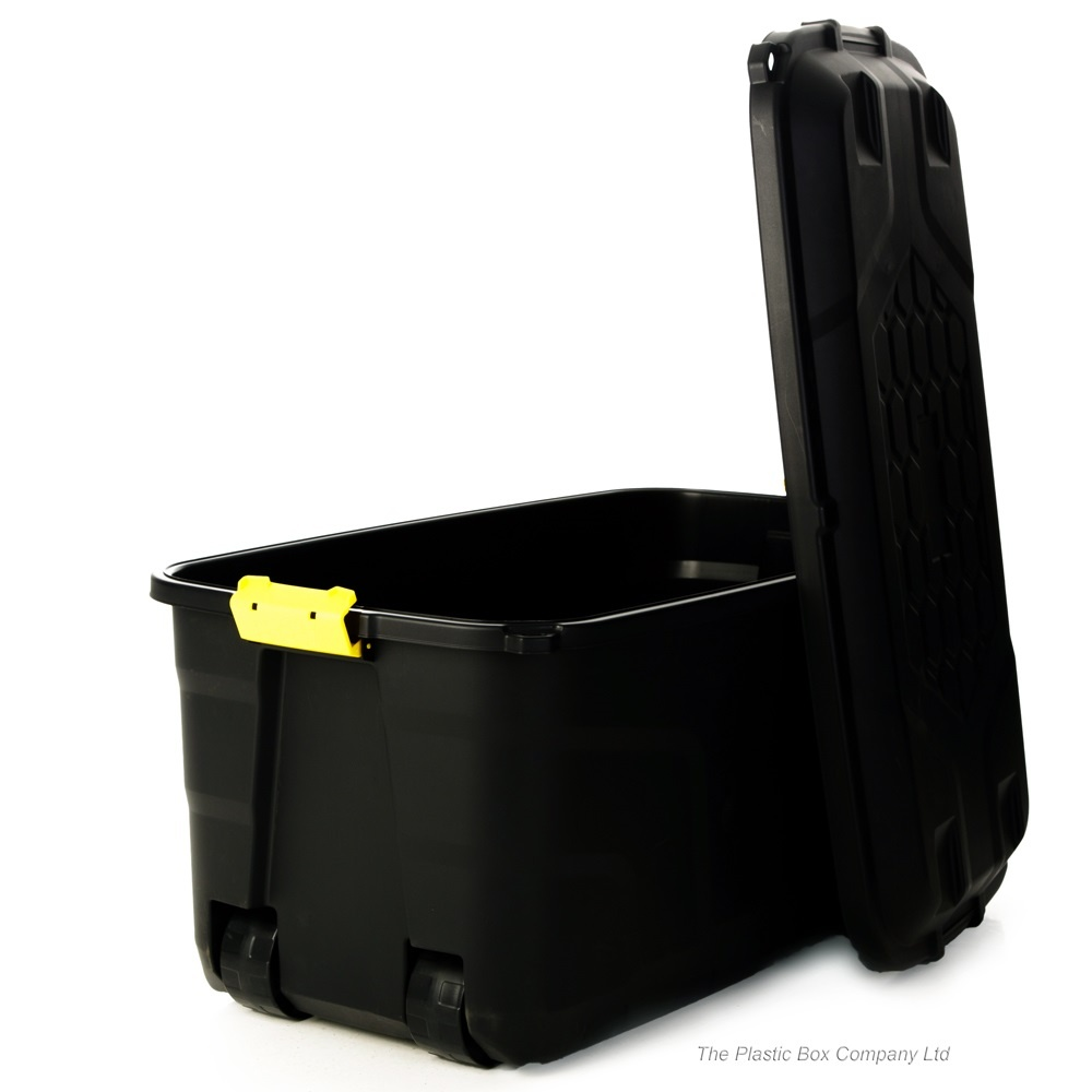 ... 145 Litre Premium Quality Lockable Plastic Box With Clip On Lid And  Wheels ...