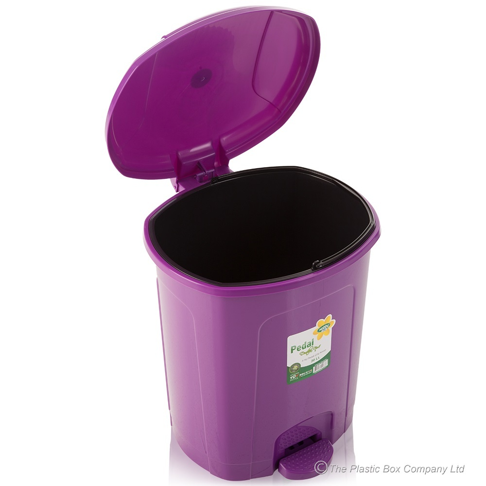 Buy large white plastic pedal bin white plastic bathroom bin for Purple bathroom bin