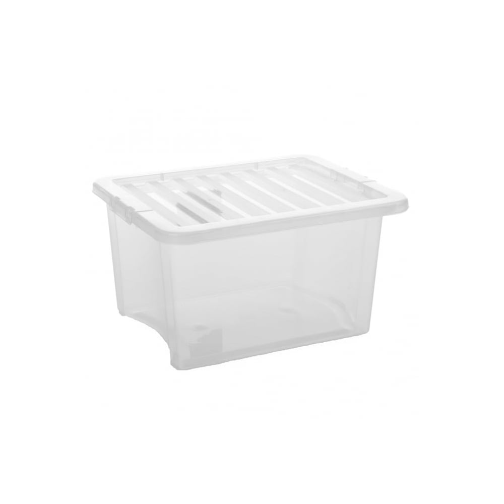 Pack Of 5   35 Litre Crystal Plastic Storage Boxes With Lids