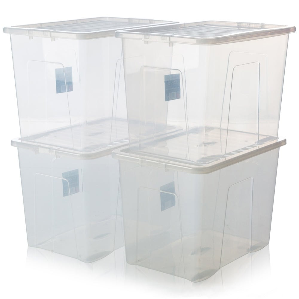 buy 80 litre crystal plastic storage box with lid pack of 4. Black Bedroom Furniture Sets. Home Design Ideas