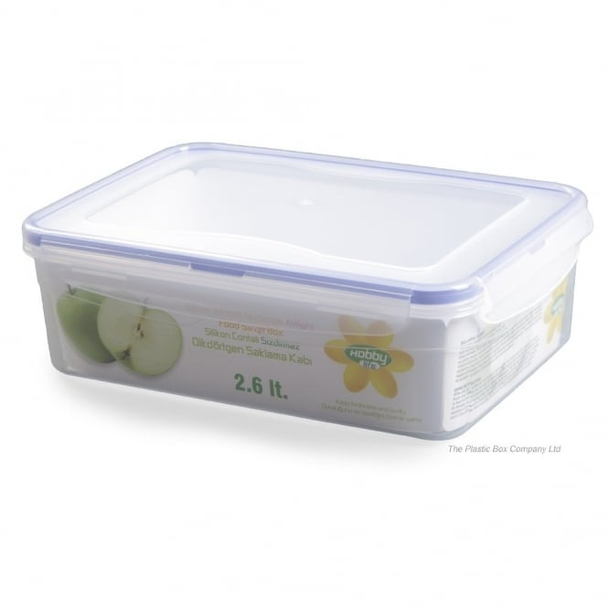 2.6 Litre Rectangular Plastic Food Container With Clip Lid