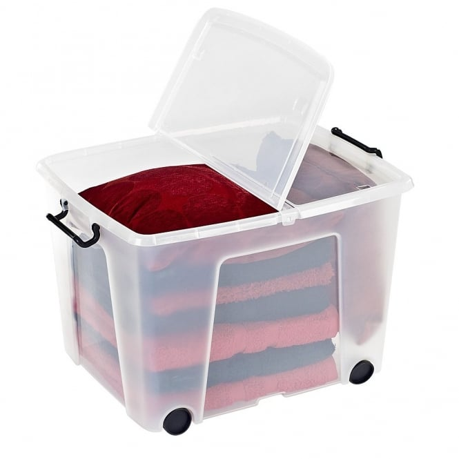 Pack of 3 - 75 Litre Smart Storage Box With Wheels and Lids