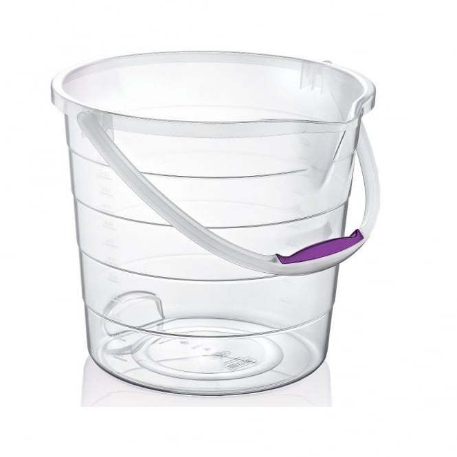 10 Litre Clear Stepped Plastic Bucket with Handle