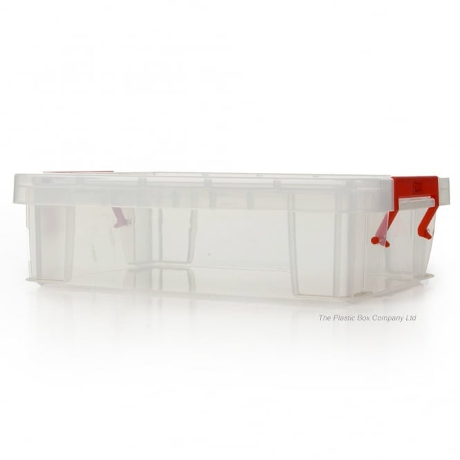 2.3 Litre Allstore Small Shallow Plastic Storage Box with Clip on Lid