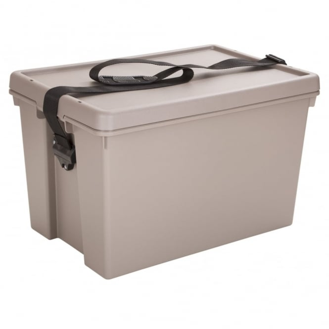 Large Festival Camping Fishing 62 Litre Box with Carry Strap Mocha