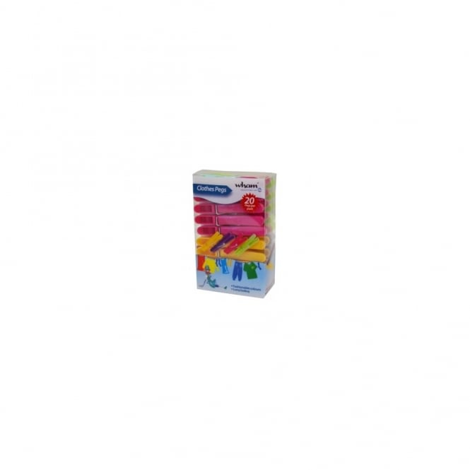 Set of 20 Multi Coloured Plastic Pegs