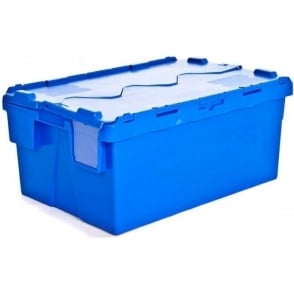 Pack of 4 - 48 Litre Heavy Duty ALC Plastic Storage Boxes With Attached Lids