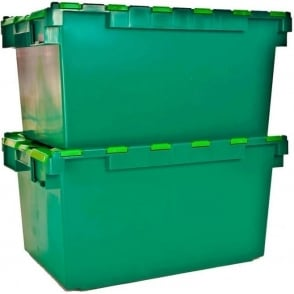 Pack of 2 - 80 Litre Heavy Duty ALC Plastic Storage Boxes With Attached Lids