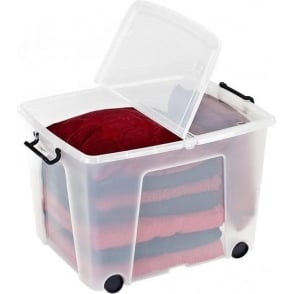 Strata Pack of 3 - 75 Litre Smart Storage Box With Wheels and Lids
